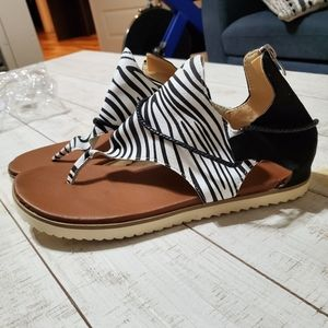 Zebra and Black Thong Sandals